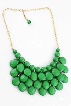 Charming Style Shine Green Beads Necklace #SheInside