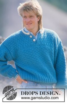DROPS jumper in textured pattern in Alaska. Ladies and men's sizes S – L. Free pattern by DROPS Design.