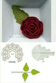 16 Ideas For Crochet Jewelry Tutorial Flower Brooch Crochet Puff Flower, Crochet Flower Tutorial, Crochet Leaves, Crochet Flower Patterns, Crochet Flowers, Crochet Designs, Crochet Diagram, Crochet Motif, Diy Crochet