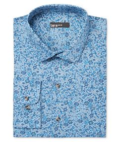 Bar III Slim-Fit Blue Painted Floral Dress Shirt, Only at Macy's