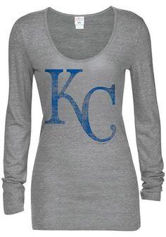 Kansas City Royals T-Shirt - Grey Royals Tri-Blend Glitter Long Sleeve Tee 6ccca6a09