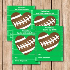 Sports Football Classroom School Valentine's Cards for Kids  by CBendelDesigns