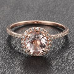14K Rose Gold Halo Pave Diamond Engagement Ring/Cocktail Ring With Morganite Center Stone. $450.00, via Etsy.