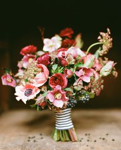 Romantic Red Pink Green Bridal Bouquet