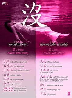 #CWord #JWord 沒mei2: (-ve prefix); haven't  #CWord #JWord 沒mo4: drowned; 2end; 2die; 2inundate [ぼつ botsu: discard; death; lacking]