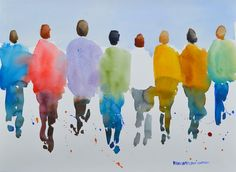 "People IV, Original Watercolor Painting Landscape, Large 22"" x 30"", Free Shipping within USA"