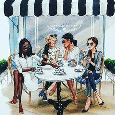 Artist: inslee haynes i love this drawing. tea shop in paris friends illustration, Black Girl Art, Black Women Art, Black Art, Art Girl, Best Friend Drawings, Bff Drawings, Foto Fashion, Fashion Art, Illustration Mode