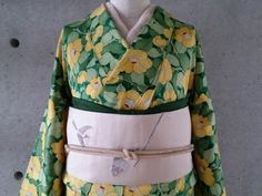 淡黄色×グリーン 椿の小紋