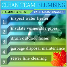 Prepare your home plumbing for the season. Homeowners should complete these 5 important tasks as a regular component of seasonal home maintenance. Doing these simple tasks can prevent unnecessary damage to your home plumbing systems. #Fall #Plumbing #Tips