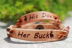 Her Buck, His Doe Bracelet on Etsy, $18.00. Aww would love these for when I have a husband that hunts with me