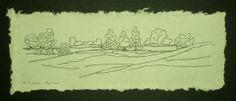 Original Maine Art Drawing Pen Ink Landscape by kathleendaughan, $45.00