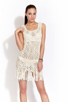 Wow. Can I take my knot tying skills to this level?  Macrame dress in ivory
