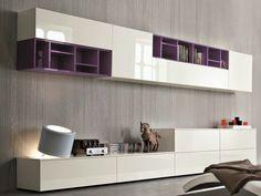 Módulo de arrumação de parede secional lacada SLIM 11 by Dall'Agnese design…