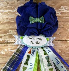 Bow Tie Mommy To Be Corsage Ready To Ship Blue Bowtie Baby Shower Corsage Mom Badge Blue Boy Tie Theme Shower Corsage Fabric Flower on Etsy, $16.00