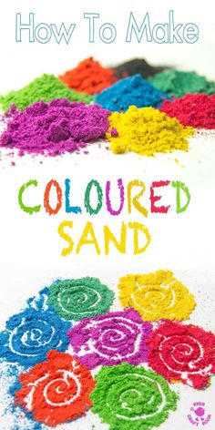 DIY COLOURED SAND - It& easy and fun to make vibrant coloured sand for all your sand art projects, sand play and Rangoli art. DIY COLOURED SAND - Its easy and fun to make vibrant coloured sand for all your sand art projects, sand play and Rangoli art. Farbiger Sand, Sand Play, Sand Art For Kids, Projects For Kids, Crafts For Kids, Arts And Crafts, Kids Diy, Easy Art Projects, Craft Kids