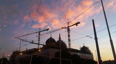 Sunset above the cranes over the National Museum