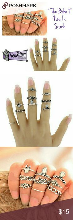 """Bohemian 9 piece Midi Ring Set Show off that free spirit and inner boho gal with this """"Boho 9"""" Midi Ring Set. 9 unique rings that will sit on your fingers in different places. This style is so on-trend and can be worn with a variety of outfits. Jewelry Rings"""