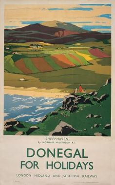 This poster was originally used by London, Midland and Scottish Railway to promote tourism.  The travel poster shows an image of Sheephavan bay in County Donegal.  The artist was Norman Wilkinson.  He has painted the beach and patchwork fields of Sheephaven, in County Donegal, ireland    The age of the travel poster dates to 1936 approximately.