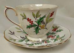 Holly Tea Cup & Saucer - Royal Albert