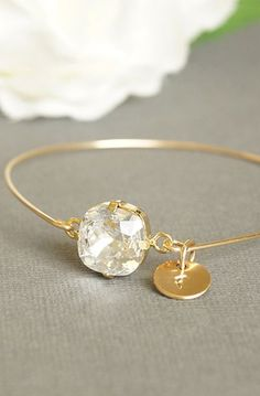 Clear Crystal Bangle Bracelet Gold, Personalized Hand Stamped Initial Bangle