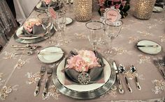 Gray/silver tablecloths with lace overlays