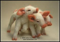 Needle Felted Pigs.