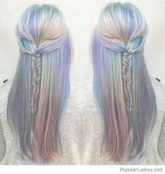 Colorful hair color, love the braided hairstyle