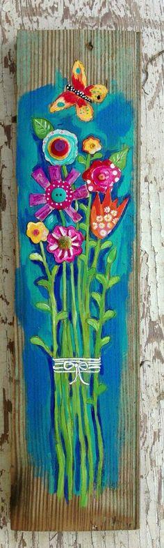 Pink fish original painting folk art by evesjulia12 on for Folk art craft paint