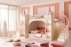 """Here's a bunk bed for all the princesses out there! What do you think? This is just one of the gazillion bunk beds we have in our """"Bunk Beds"""" album on our site at http://theownerbuildernetwork.co/ideas-for-your-rooms/furniture-gallery/bunk-beds/ Do you have a princess in your life who would love this?"""