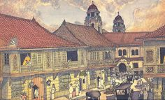San Agustin Church and Intramuros Houses, 1900 Philippine Mythology, Philippine Art, Philippine Houses, Filipino Architecture, Philippine Architecture, Filipino Art, Filipino Culture, Architecture Concept Drawings, Historical Architecture