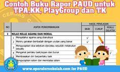 Contoh Buku Rapor PAUD untuk TPAKK PlayGroup dan TK