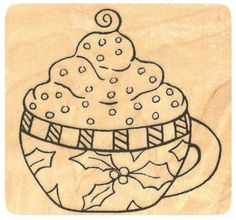 """{Single Count} Unique & Custom (2 1/4"""" Inches) """"Christmas Cocoa Holly Mug"""" Square Shaped Genuine Wood Mounted Rubber Inking Stamp"""