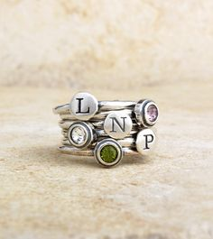 Sterling Silver Family Initial Mothers Ring By Nelle and Lizzy