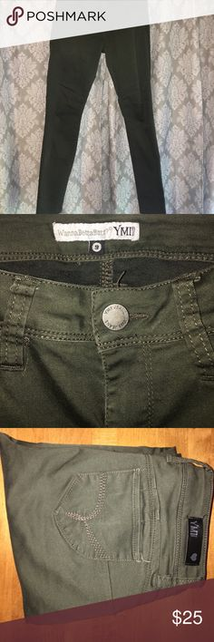 YMI Olive Green Pants Style: WannaBettabutt. Skinny legs. Comfortable fit. Pushes up your 🍑 Super cute fit. YMI Jeans Skinny