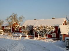 "Bullerbyn in winter, snow covered, Sweden. From Astrid Lindgrens ""Alla vi barn i Bullerbyn"""