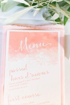 Blush watercolor menu: http://www.stylemepretty.com/ohio-weddings/columbus/2015/07/29/blush-coral-downtown-columbus-wedding/ | Photography: Leigh Elizabeth - http://www.leighelizabeth.com/