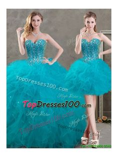 New Arrivals Beaded and Ruffled Teal Detachable Quinceanera Skirts in Organza - US$298.74