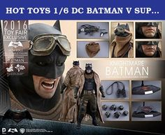 HOT TOYS 1/6 DC BATMAN V SUPERMAN MMS372 KNIGHTMARE BATMAN FIGURE 2016 FAIR EXCLUSIVE. Specifications Product Code / MMS372 Product Name / Knightmare Batman Height / Approximately 32 cm tall Points of Articulations / 30 Special Features / masked head sculpt w/ 3 interchangeable lower faces, specially developed muscular body, finely tailored Batsuit, Knightmare Batman's desert gear, detailed weapons, and figure stand Artists / Head Sculpted by So Young, Lee Head Painted by JC. Hong Head…