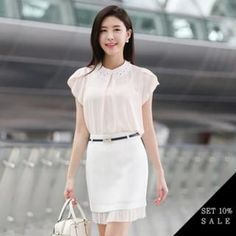 Buy 'COCOAVENUE – Set: Lace-Trim Neck Blouse   Frilled Hem H-Line Skirt with Belt' with Free International Shipping at YesStyle.com. Browse and shop for thousands of Asian fashion items from South Korea and more!