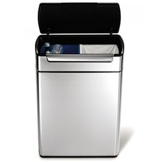 simplehuman 48 Liter Rectangular Touch-Bar Recycler in Fingerprint-Proof Brushed Stainless Steel, Silver Recycling Containers, Recycling Bins, Kitchen Trash Cans, Kitchen Bins, Kitchen Ideas, Kitchen Storage, Recycle Cans, Bar, Brushed Stainless Steel