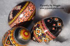 Goose egg pysanky in the snow