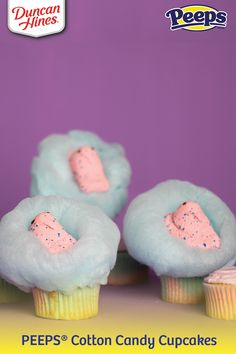 When in doubt, cupcake it out! This #PEEPS Cotton Candy Cupcake #recipe from @realduncanhines is sure to make your #Easter extra sweet💕 🐥 Cotton Candy Cupcakes, Blue Cupcakes, Easter Cupcakes, Easter Peeps, Hoppy Easter, Cupcake Gift, Cupcake Cakes, Flavored Marshmallows, Cotton Candy Flavoring