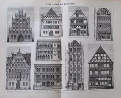 1897 GESCHICHTE DER WOHNHAUSES I. und II. 2 Original Drucke Architektur Litho
