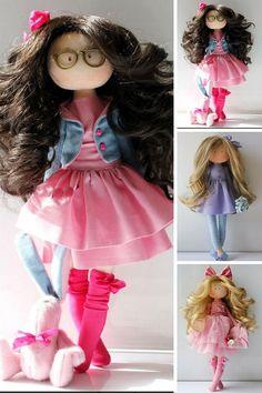 Textile doll Tilda doll Fabric doll Muñecas Pink doll Birthday