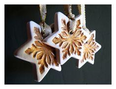 Christmas snowflake stars. Gold porcelain ornaments. Set of 5. €24.00, via Etsy.