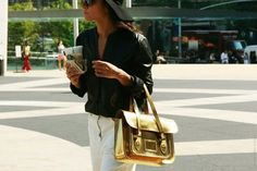 New Fluor Metallic Soft PU Messenger Company Satchel Shoulder Strapped Bag Metal Fashion, Love Fashion, Womens Fashion, Oxford Bags, Shoulder Strap Bag, Ny Fashion Week, Cambridge Satchel, Bag Accessories, Street Style