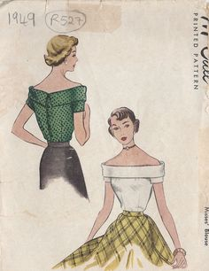 """1949 Vintage Sewing Pattern BLOUSE B34"""" (R527) #McCall"""