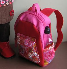 DIY tutorial make a doll sized backpack. Super Cute! By A Doll for all Seasons Blog.
