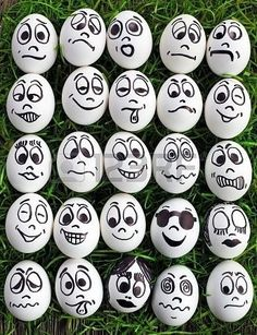 White eggs and many funny faces by tracy sam