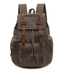 Vere Gloria Men's Women's Canvas Leather Hiking Daypack, Teens Boys Girls College Students School Backpack Bags, 15 Inches Laptop Bag, Casual Back Pack for Camping Travel Bicycling Trekking Outdoor Sports, Double Shoulder Handbags, String Closure, Multi-function, Great Quality, Large Capacity, Multi Pockets (Brown)